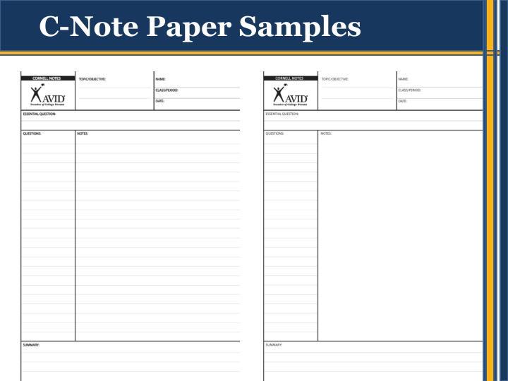 C note paper samples