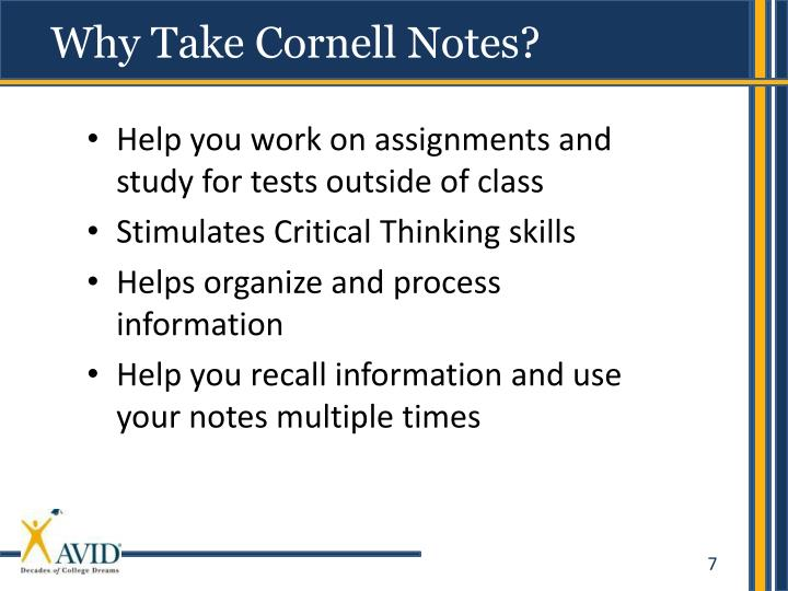 Why Take Cornell Notes?