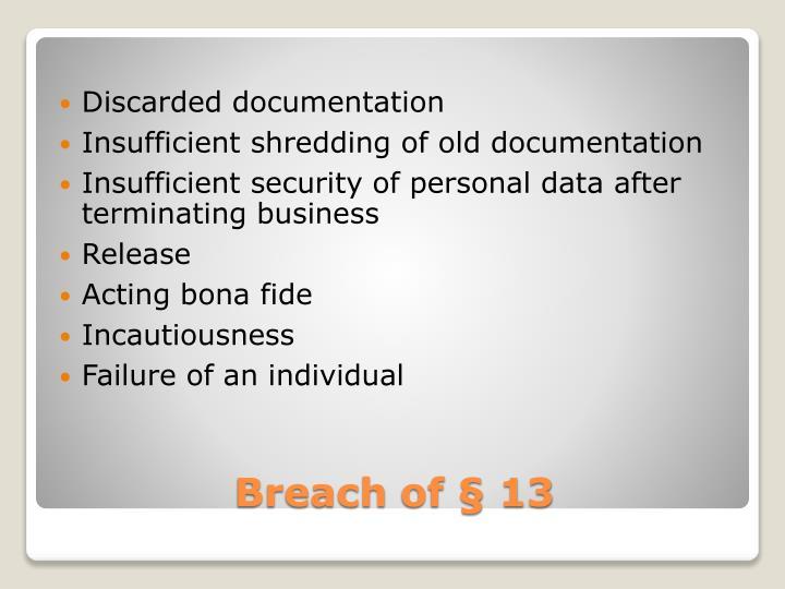 Discarded documentation