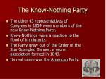 the know nothing party