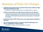 summary of close out changes1