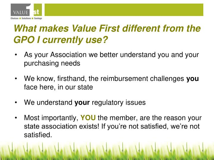 What makes Value First different