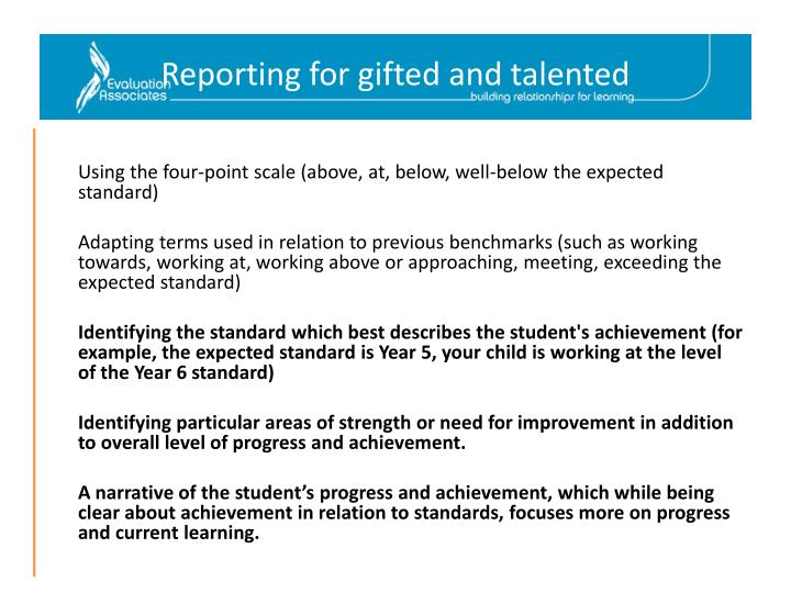 Reporting for gifted and talented