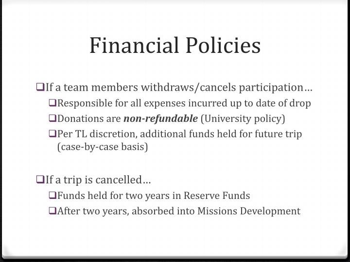 Financial Policies