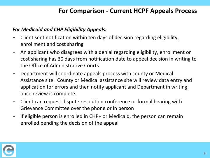 For Comparison - Current HCPF Appeals Process