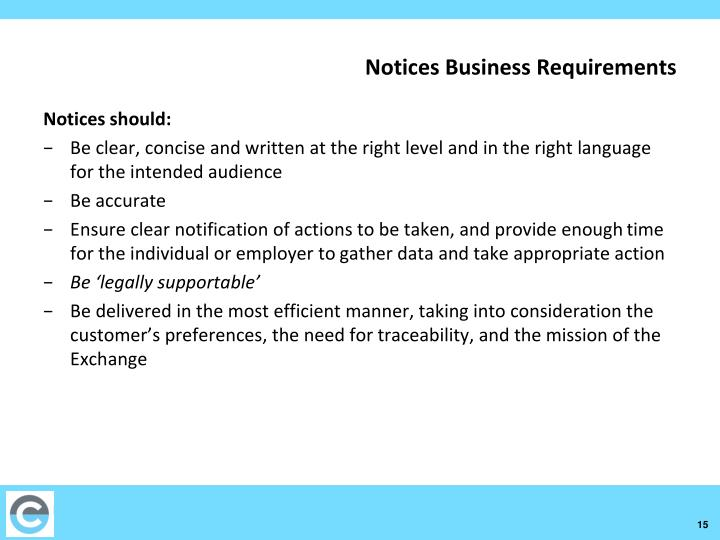 Notices Business Requirements