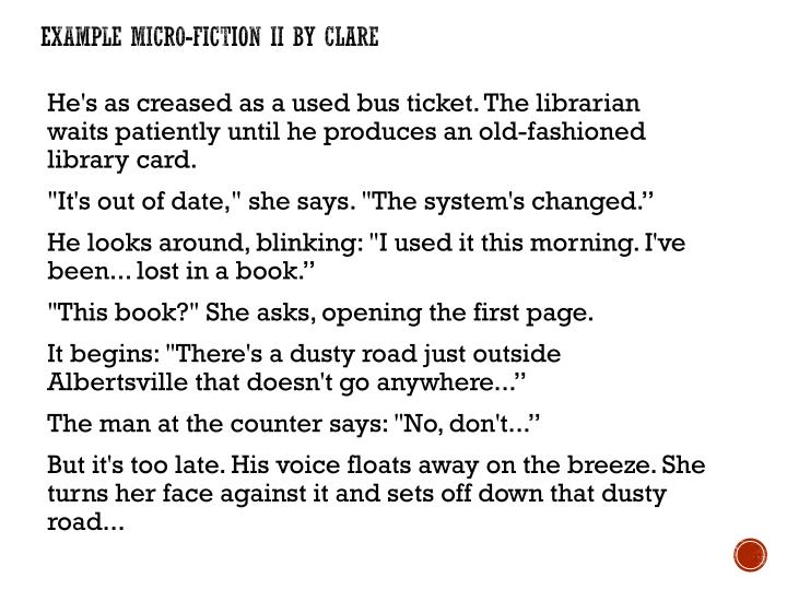Example Micro-Fiction II by Clare