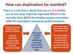 how can duplication be avoided