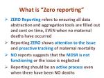 what is zero reporting