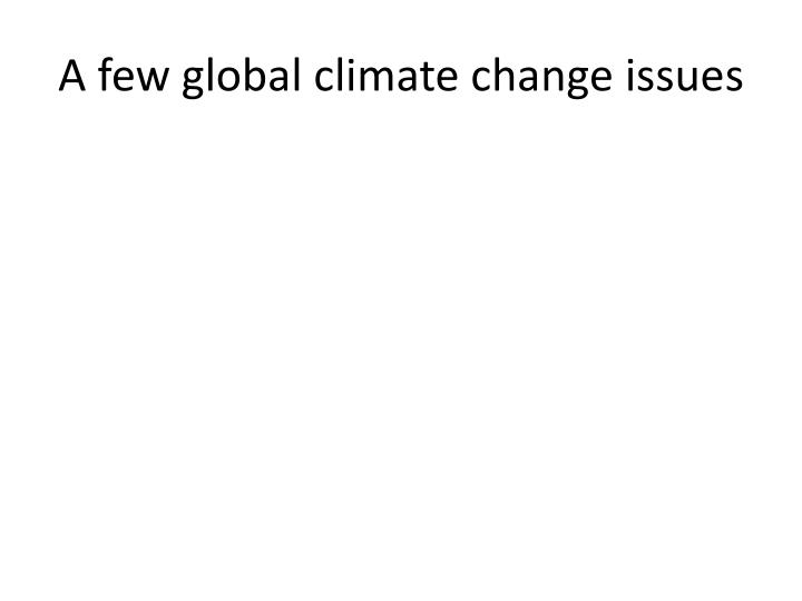 A few global climate change issues