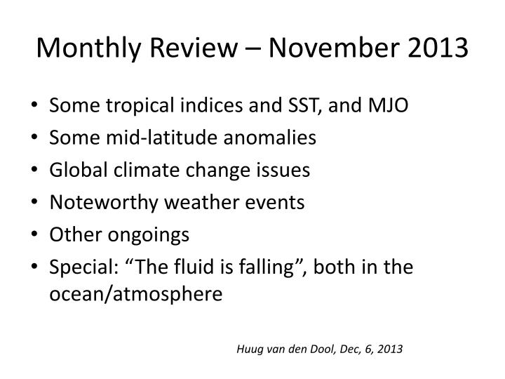 Monthly review november 2013