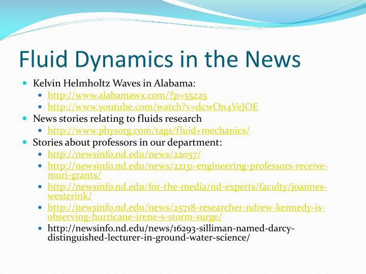 Fluid Dynamics in the News