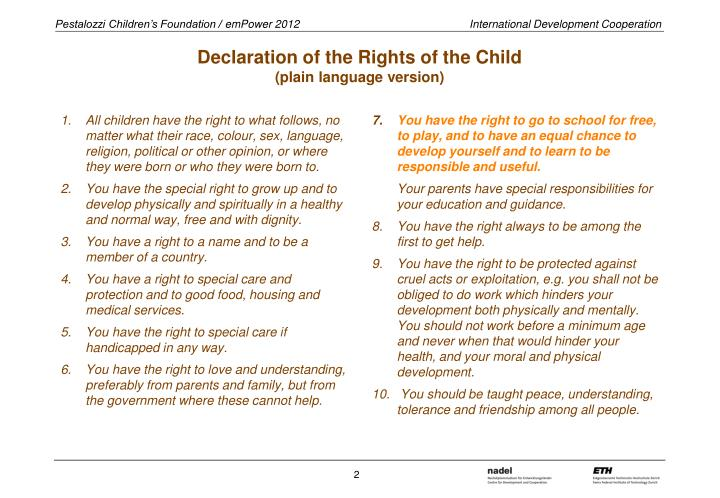 Declaration of the rights of the child plain language version
