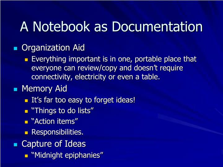 A Notebook as Documentation