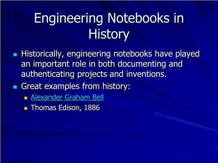 Engineering Notebooks in History
