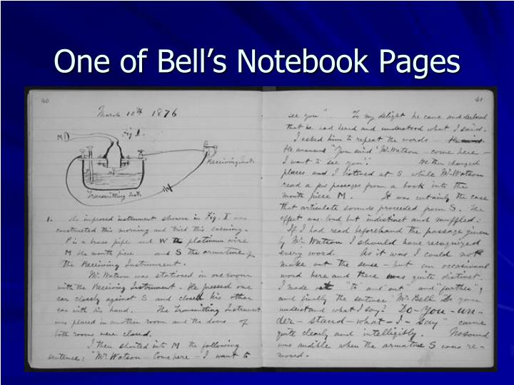 One of Bell's Notebook Pages