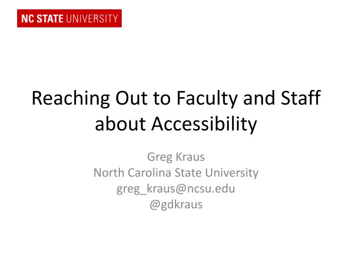 reaching out to faculty and staff about accessibility n.