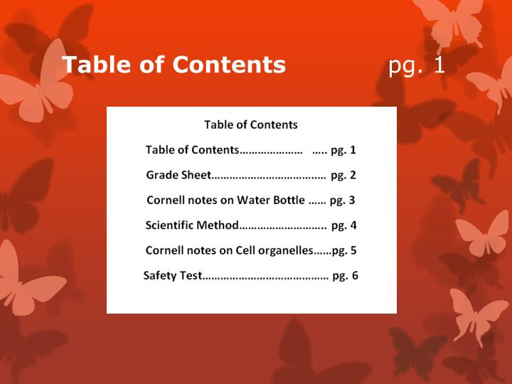 Table of contents pg 1