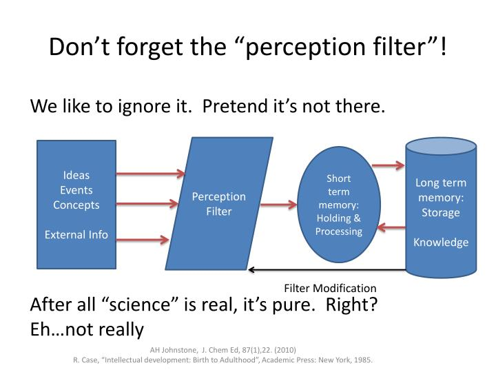 "Don't forget the ""perception filter""!"