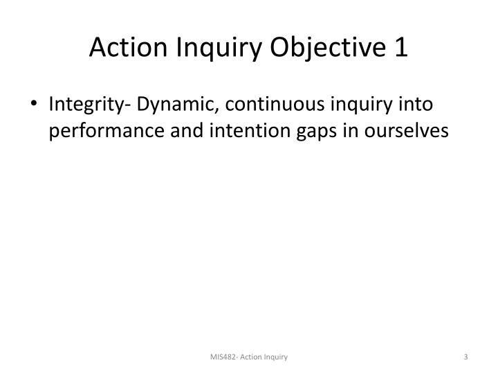 Action inquiry objective 1