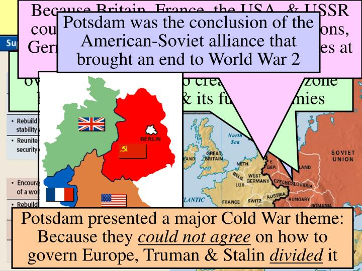 Because Britain, France, the USA, & USSR could not agree on German war reparations, Germany was divided into occupied zones at the Potsdam Conference