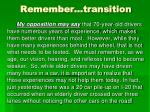 remember transition
