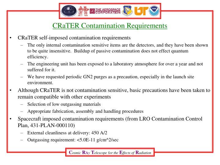 CRaTER Contamination Requirements