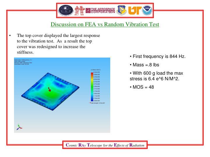 Discussion on FEA vs Random Vibration Test