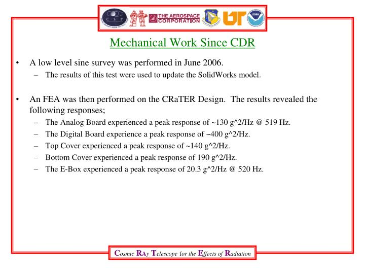 Mechanical Work Since CDR