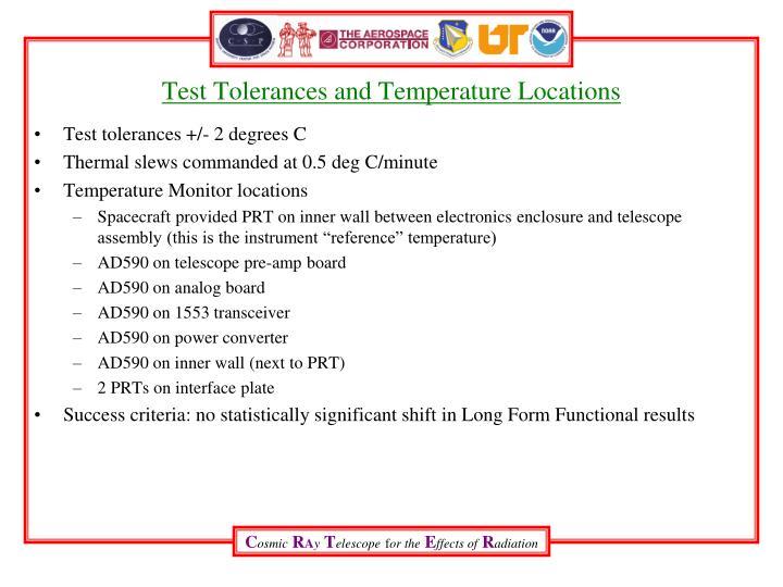Test Tolerances and Temperature Locations