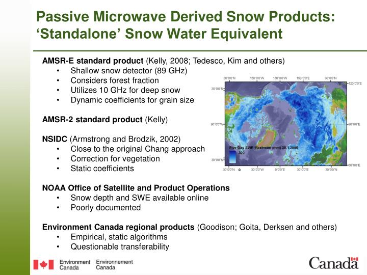 Passive microwave derived snow products standalone snow water equivalent