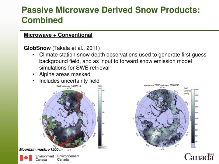 Passive Microwave Derived Snow Products: