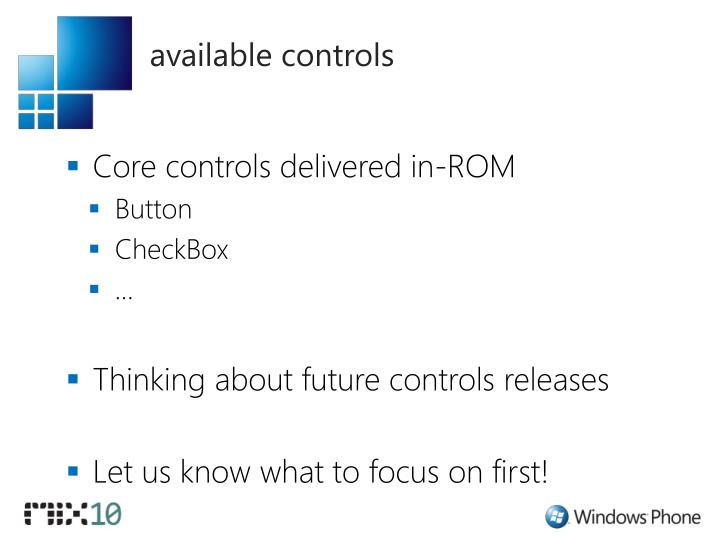 available controls