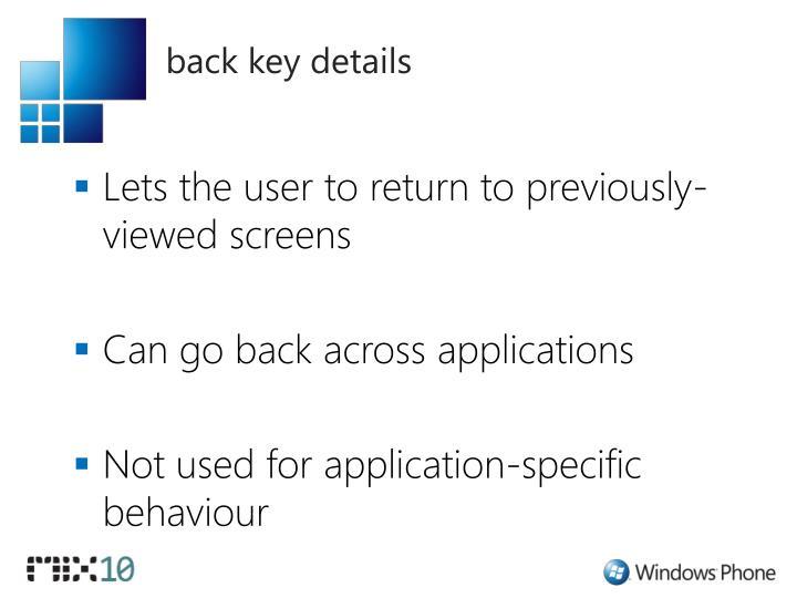 back key details