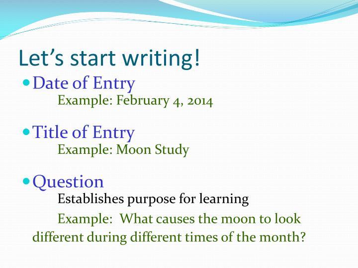 Let's start writing!