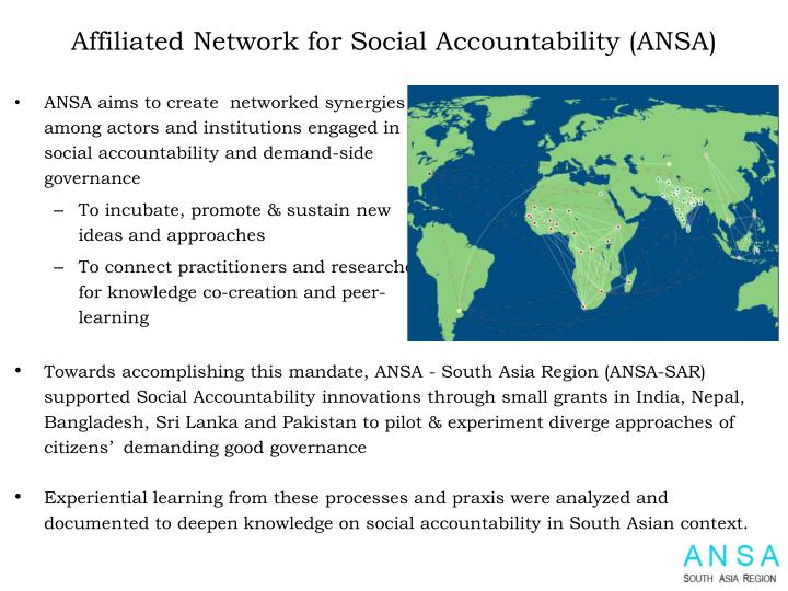 Affiliated network for social accountability ansa