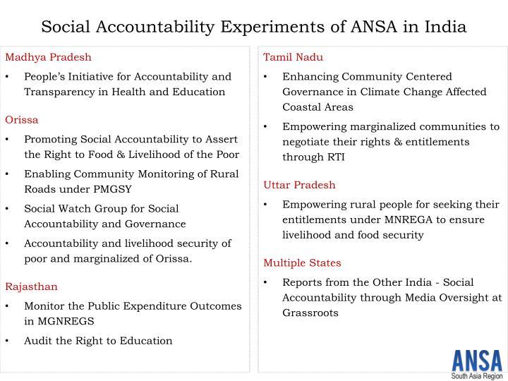 Social accountability experiments of ansa in india