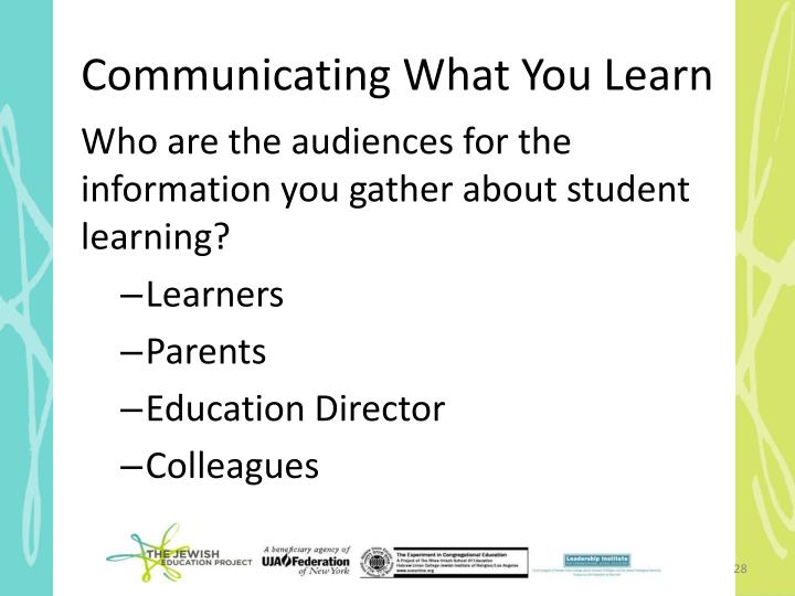 Communicating What You Learn
