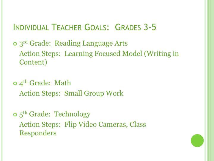 Individual Teacher Goals:  Grades 3-5