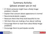 summary activity please answer yes or no