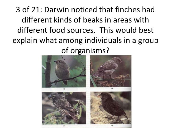 3 of 21: Darwin noticed that finches had different kinds of beaks in areas with different food sources.  This would best explain what among individuals in a group of organisms?