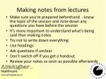making notes from lectures