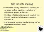 tips for note making