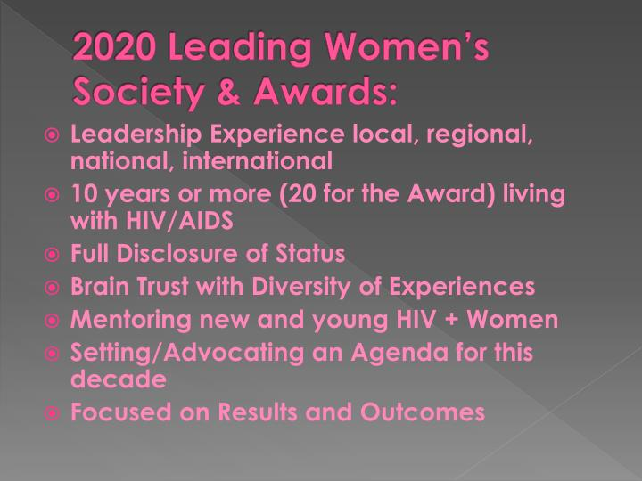 2020 Leading Women's Society & Awards: