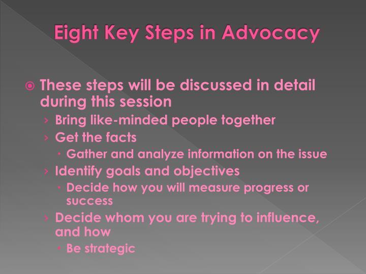 Eight Key Steps in Advocacy