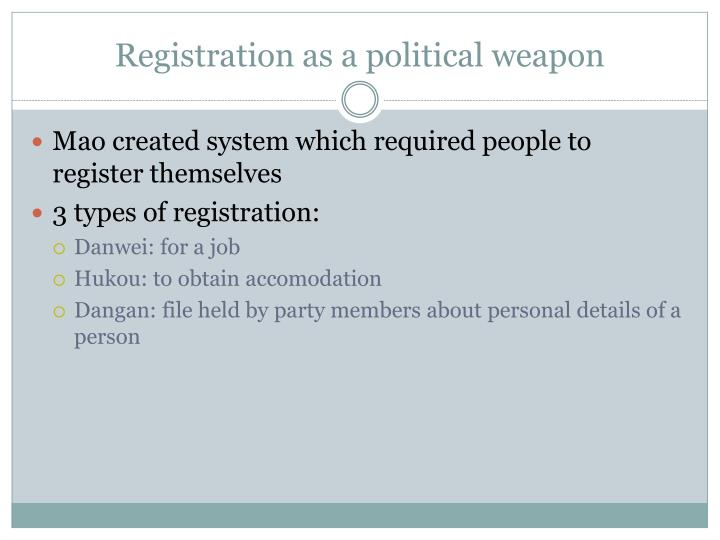Registration as a political weapon