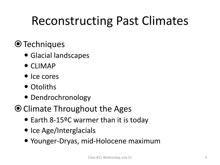 Reconstructing past climates