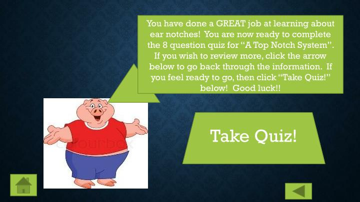"You have done a GREAT job at learning about ear notches!  You are now ready to complete the 8 question quiz for ""A Top Notch System"".  If you wish to review more, click the arrow below to go back through the information.  If you feel ready to go, then click ""Take Quiz!"" below!  Good luck!!"