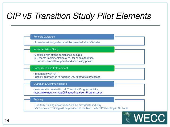 CIP v5 Transition Study Pilot Elements