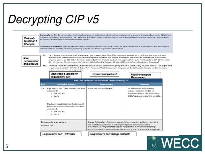 Decrypting CIP v5